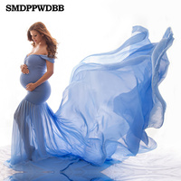 Maternity Off Shoulders Half Circle Gown for Baby Shower Photo Props Dress Maternity photography Props Long Sleeve V Neck Dress