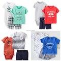 Marca, nuevo 2015, ropa del verano, recién nacido, la ropa del bebé, embroma la ropa, mameluco del bebé, de manga corta para pc se baby set