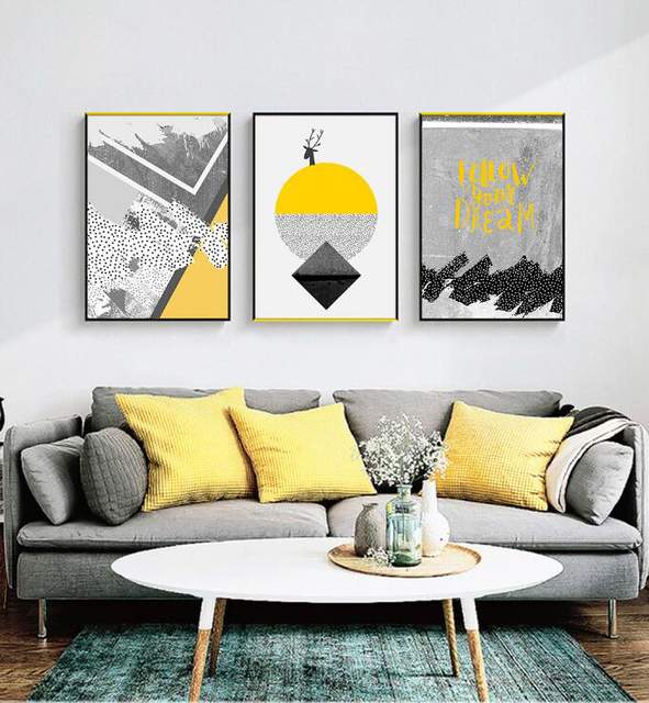 Home Decor 3 Panels Bright Yellow Circle Grey Tone Abstract Nordic
