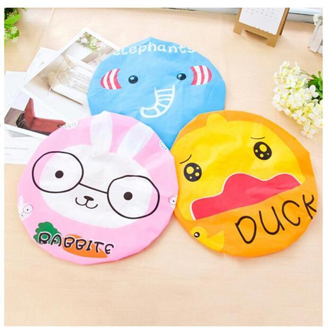 New Design Children Women Bathing Cap Hat Cute Cartoon Animal Print Elastic PVC Waterproof Shower Cap Bath Cap