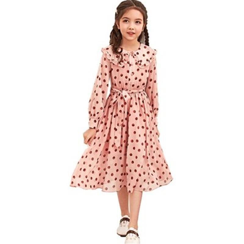 2019 nouveau printemps automne enfants filles en mousseline de soie point volants robe enfants robes pour filles enfant en bas âge fille robe vêtements S191