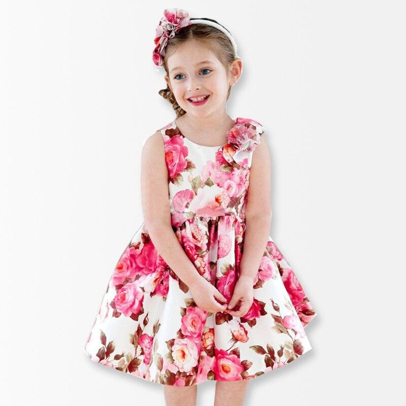 Flower Print Girls Dress Summer Dress kids dresses for ...