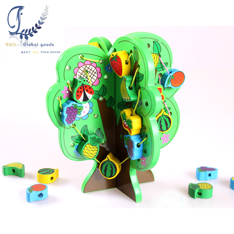 New arrival DIY Wooden Tree Lacing Beads Toys Wooden Wisdom Tree Baby Educational Toys Children Stringing Beads Game Blocks Toys duck around beads toy baby wooden toys duckling trailer mini around beads educational game toys for kids children gift