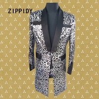 Silver Sequins Bling Leopard Design Long Style Men Suit Jacket Nightclub Male Singer Show Blazer Costume Slim Bar Dj Outfit Wear
