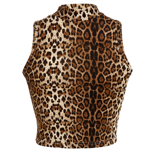 Rapwriter Casual Stand Collar Stretch Leopard Tank Tops Women 2018 Heat Streetwear Sleeveless Bodycon Camisole Crop Top female