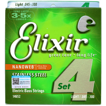 Elixir Original 14652 Electric Bass Stainless Steel with NANOWEB Coating 4-String Light, Long Scale 045-100 rotosound rs66lc bass strings stainless steel