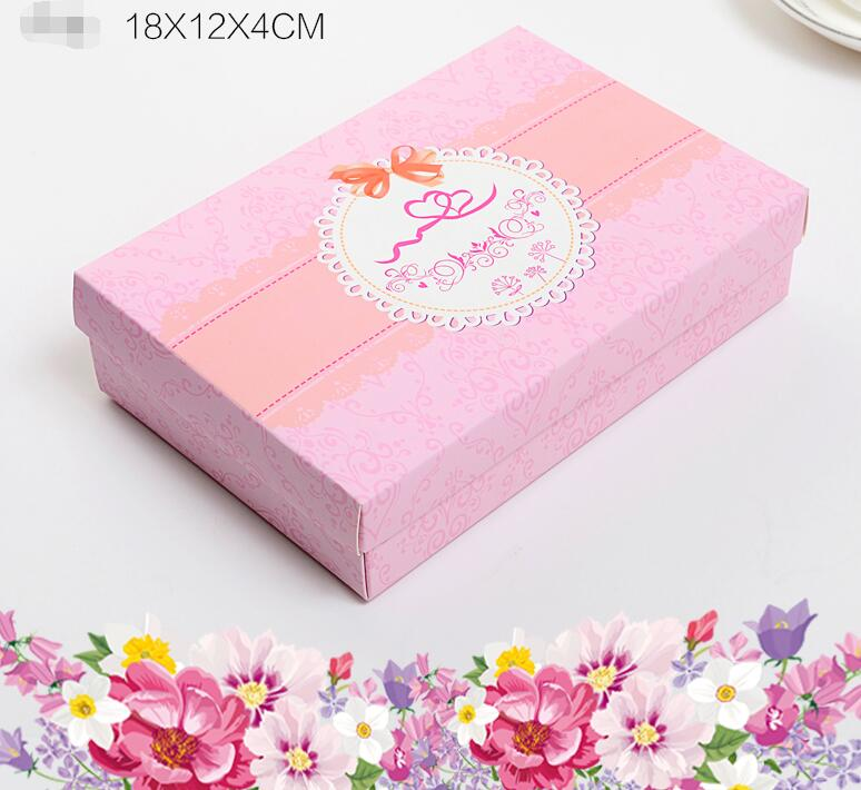 12-14 Alice, Wedding gift box for guests,18*12*4cm 30pcs/lot Pink craft paper box cardboard storage box for Clothes