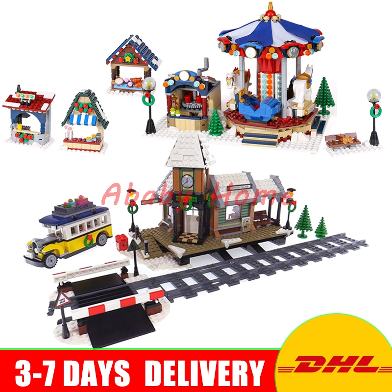 DHL Lepin Genuine Creative Series 36010+36011 Educational Building Blocks Bricks Toys Christmas Gifts For Children 10235 10259 lepin 36010 creative series 1412pcs the winter village market set 10235 building blocks bricks educational toys christmas gifts