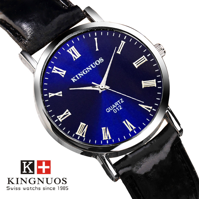 Kingnuos brand couples watches men waterproof wristwatch fashion leather male quartz wrist watch for Kingnuos watch