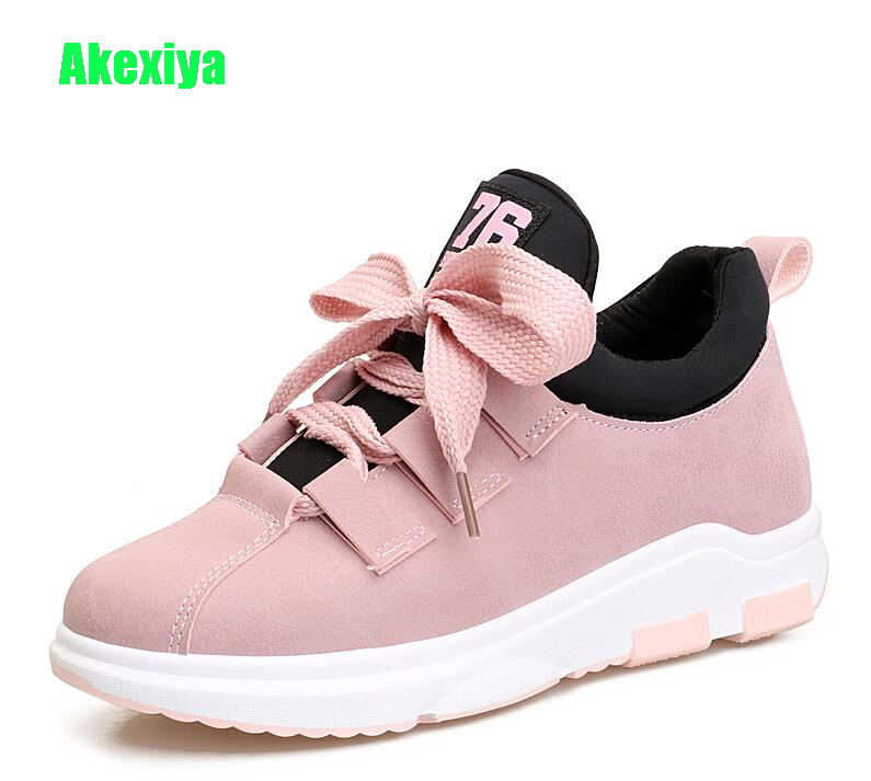 Akexiya Korean Fashion Height Increasing Women Wedges Pink Platform Flats Sneakers  Female Height Increasing Casual Shoes Woman 972fed9d8d69
