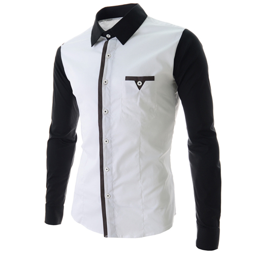 2016 New Arrival Designer Men Long Sleeve Shirts Patchwork Mens ...