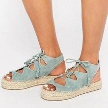 3e9d6811fd83d MoneRffi lato płaskie buty na obcasie sandały na platformie Open Toe Lace Up  Plus rozmiar 43