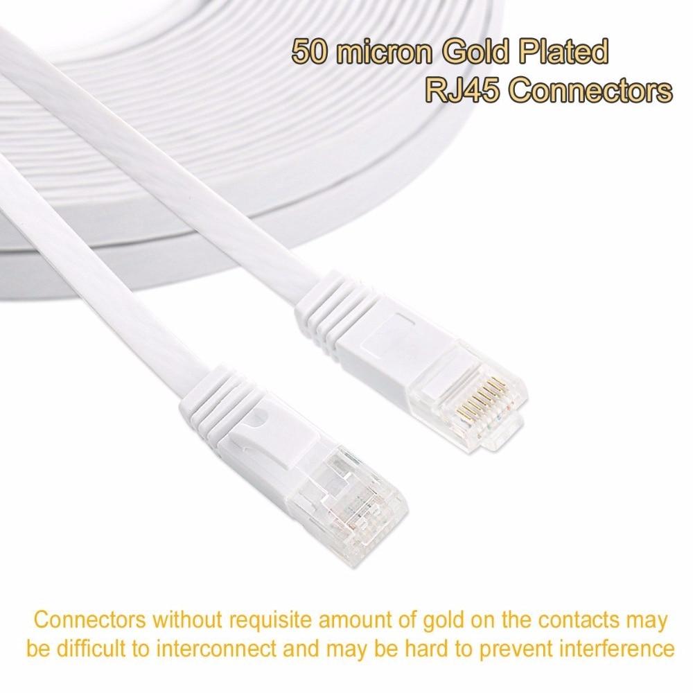 Плоский сетевой кабель Ethernet UTP CAT6, 25 см, 3 фута, 1,5 фута, 1 м, 2 м, 3 м, 10 футов, 5 м, 10 м, 15 м, 20 м, 30 м, сетевой кабель соединительной сети RJ45, черный, бел...