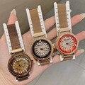 Женские часы с кристаллами  кварцевые часы с магнитной застежкой  розовое золото  стальные сетчатые наручные часы для женщин  2019
