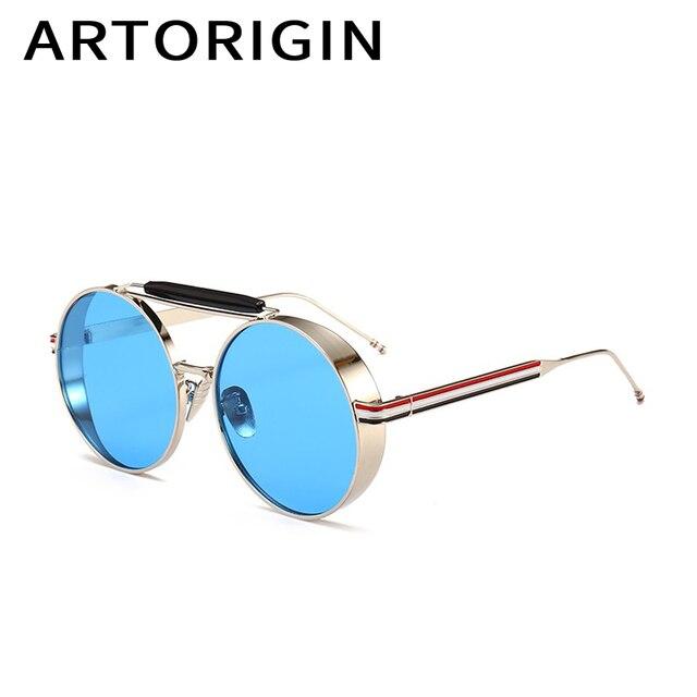 3db17c9c7e96 ARTORIGIN Brand Round Sunglasses Men Metal Steampunk Sun Glasses Panel Blue  Pink Lens Luxury Eyewear Male gafas de sol hombre