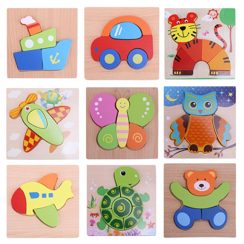 Fa 3D-s puzzle kirakós fa játékok gyerekek rajzfilm állatok puzzle tábla gyerekek intelligencia korai oktatási játék karácsonyi ajándék