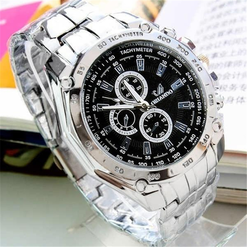 Luxury Silver Watch Quartz Watches Wristwatches Alloy Belt Sport Business Date Display Metal Watch Men Wrist Watch Business