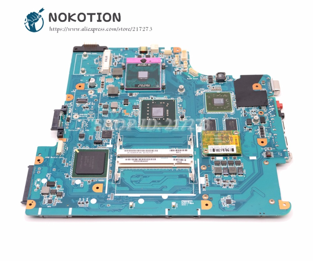 NOKOTION For Sony Vaio VGN-NS Laptop Motherboard A1665245A MBX-195MAIN BOARD PM45 DDR2 Free CPU new mbx 165 ms91 256mb a1369749a laptop motherboard for sony vaio vgn fz21m series 100