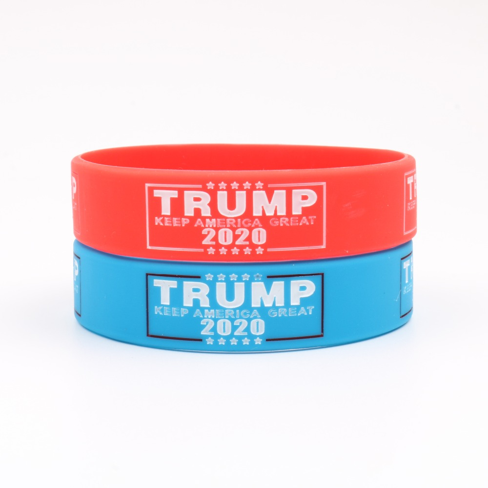 100PCS Wholesale Donald Trump 2020 United States General Election Silicone Bracelets Keeo America Great Blue Red