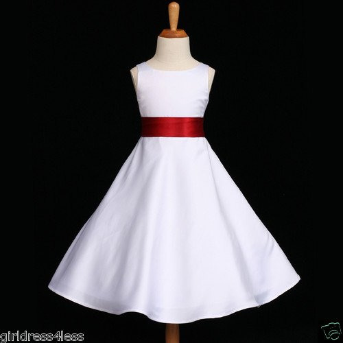 White Apple Red A Line Holiday Flower Girl Dress 12m 18m 2 2t 4 6 8