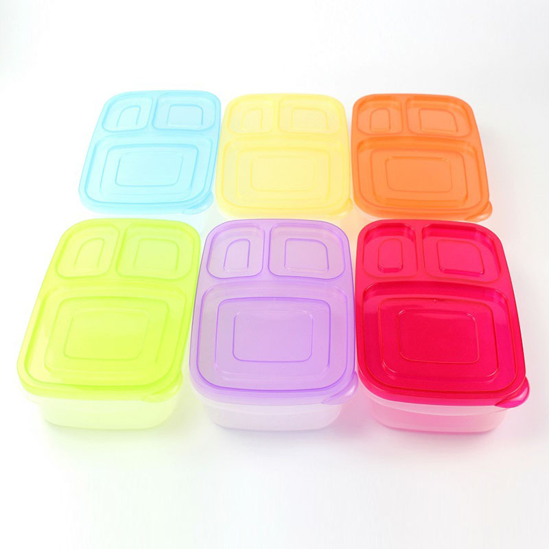 HOT Plastic Lunch Box With Lid 3 Compartments Food Fruit Container Picnic Storage Boxes For Kids Adult NDS66