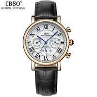 IBSOแบรนด์หรูตัวเลขโรมันผู้หญิงนาฬิการะดับไฮเอนด์สัปดาห์และปฏิทินแฟชั่นนาฬิกาผู้หญิงหนังแท้สายM Ontre f emme