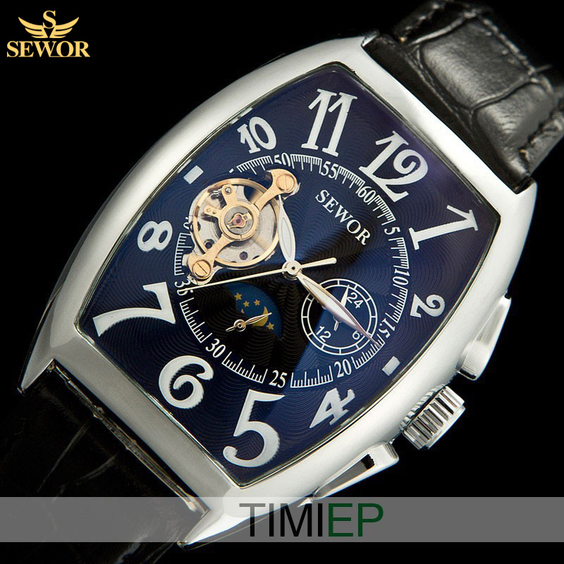 SEWOR Elegant Style Tonneau  Navy Blue  Moon Phase Automatic Mechanical Leather Men Sports Watches