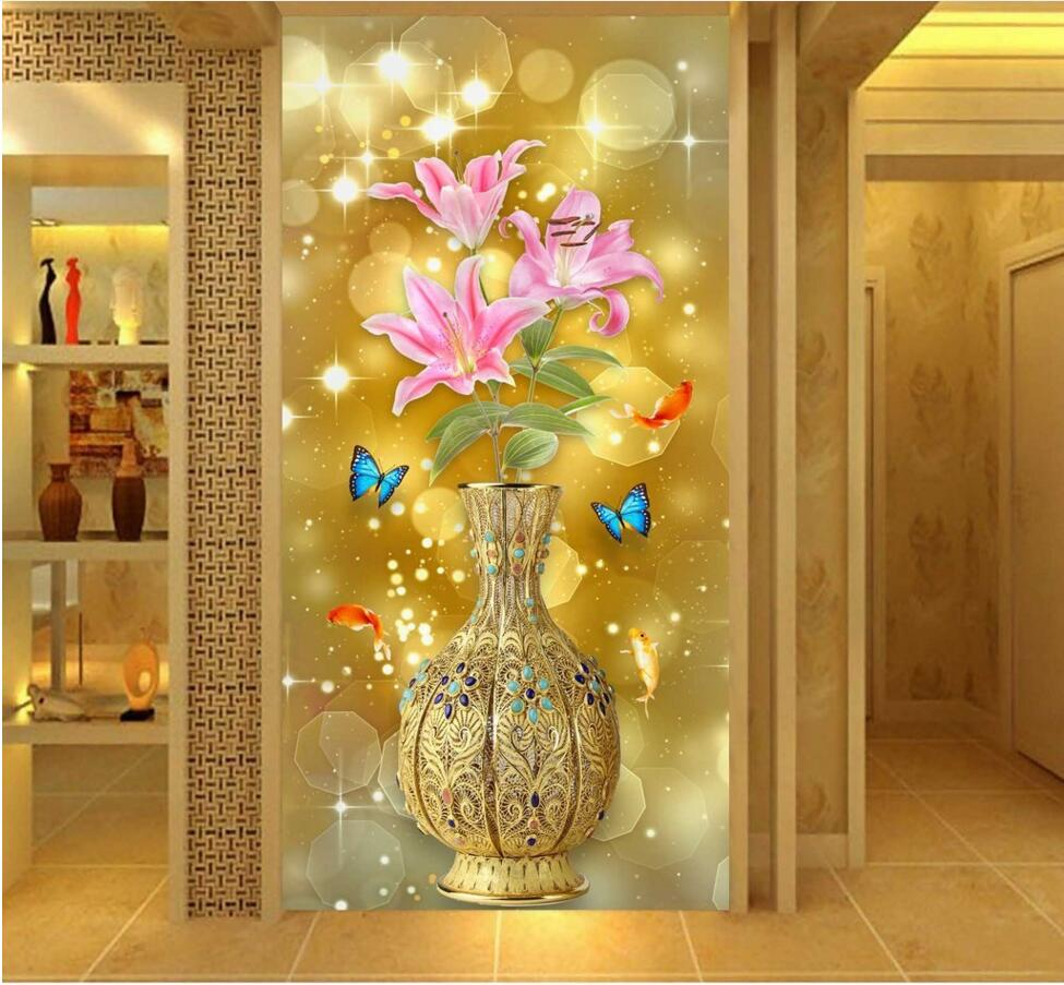 Custom mural photo 3d wallpaper picture Lily flowers Golden vase porch decor painting 3d wall murals wallpaper for living room  free shipping european 3d relief murals aisle porch corridor classical style wallpaper rich tree rose vase mural