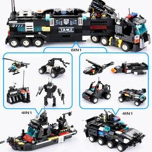 Image 3 - 8 יח\סט 695PCS עיר משטרת תחנת רכב אבני בניין עיר SWAT צוות משאית בלוקים פלסטיק טכני DIY לבני הרכבה ילדי מתנה