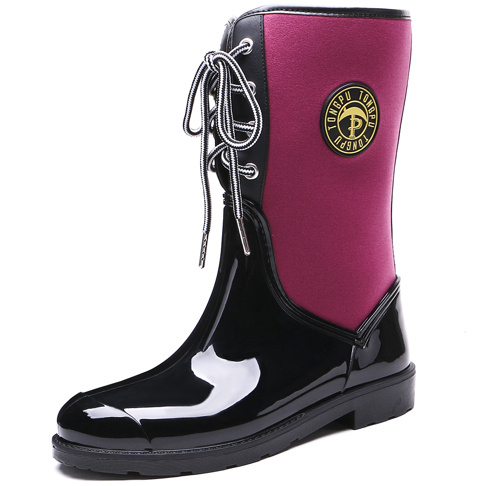 TONGPU New Design Womens Mid-Calf Rain Boots Ladies Flexible Neoprene Lace-Up Rubber Boots 154-601