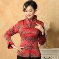 Rojo chino Vintage para Mujer con cuello en v Chaqueta clásico abrigo de señora manga larga flores tamaño sml XL XXL XXXL Mujer Chaqueta Mny08-A