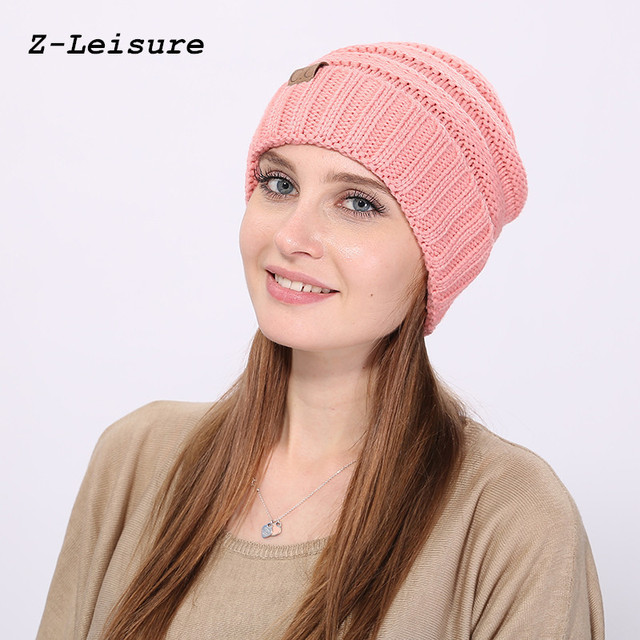 16f4f623748 Fashion Women Casual Beanies Skullies Warm Stripes Knitted Gorros Bonnet  Femme Autumn Winter Hats Caps For Girl Women KC116