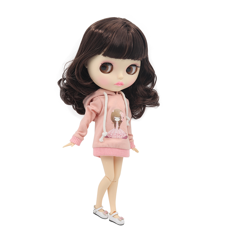 Blyth Nude Doll 1 6 Joint Body New matte face white skin Cute short curly hairDIY