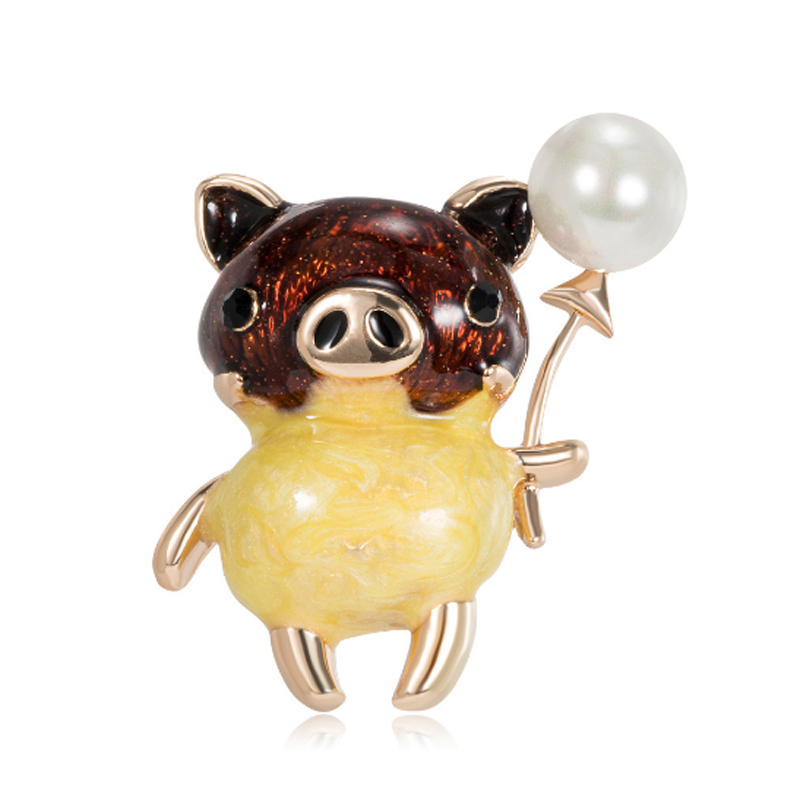 Creative Pig Brooch Lady Kids Hat Collar Pin Mens Jackets Backpack Badge High Quality Animal Enamel Metal Jewelry Gift