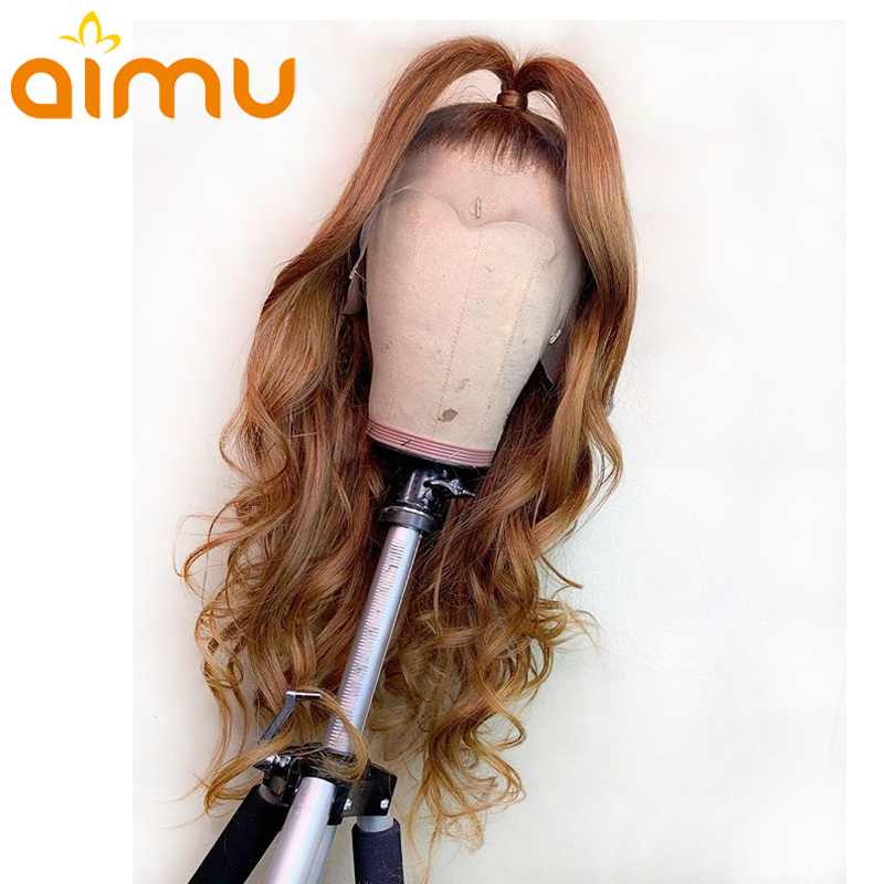 Light Brown 360 Lace Frontal Water Wave 100% Blond Real Human Hair Wigs For Black Women Remy Brazilian Invisible PrePlucked Aimu