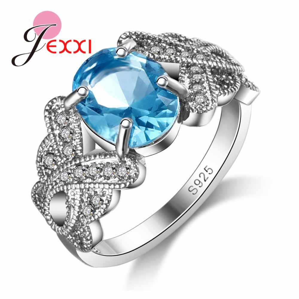 JEXXI Women Rings For Wedding 925 Sterling Silver Accessory Fashion Oval Crystal Engagement Promise Ring Wholesale Bridal Bijoux