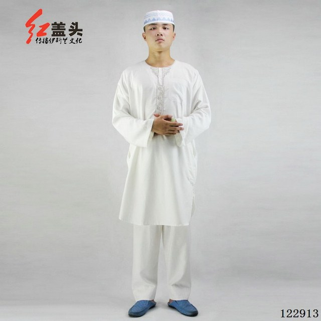 2f0594c8b2cb 2016 Summer thobe muslim clothing for men, cotton and linen embroidery T  neck short sleeve 2 pieces mens kaftan 122913(122909)
