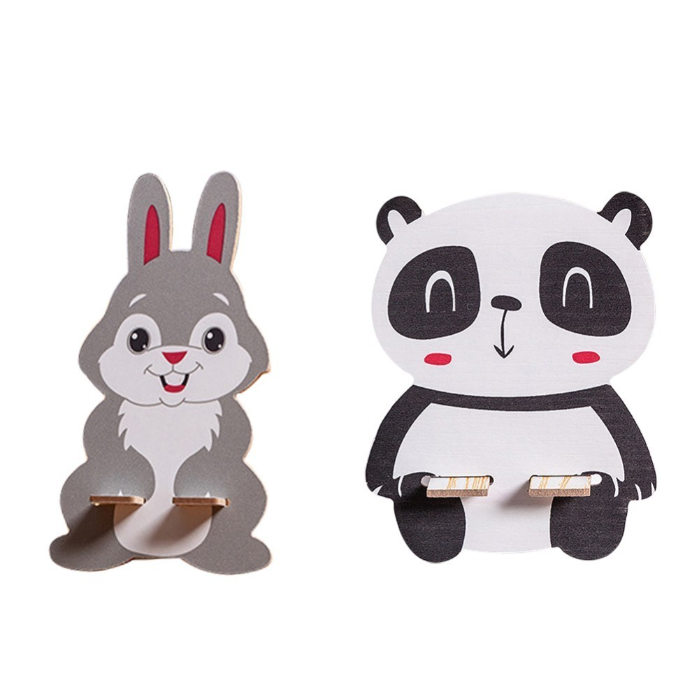 Wooden Panda Rabbit Style Phone Holder 12*8.5cm Phone Stand Mobile Phone Holder For Xiaomi IPhone Andorid