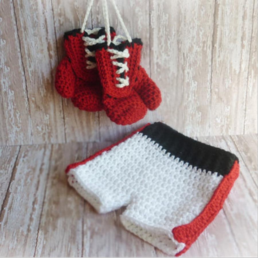 Baby Bokshandschoenen Kostuum Voor Jongens Pasgeboren Fotografie