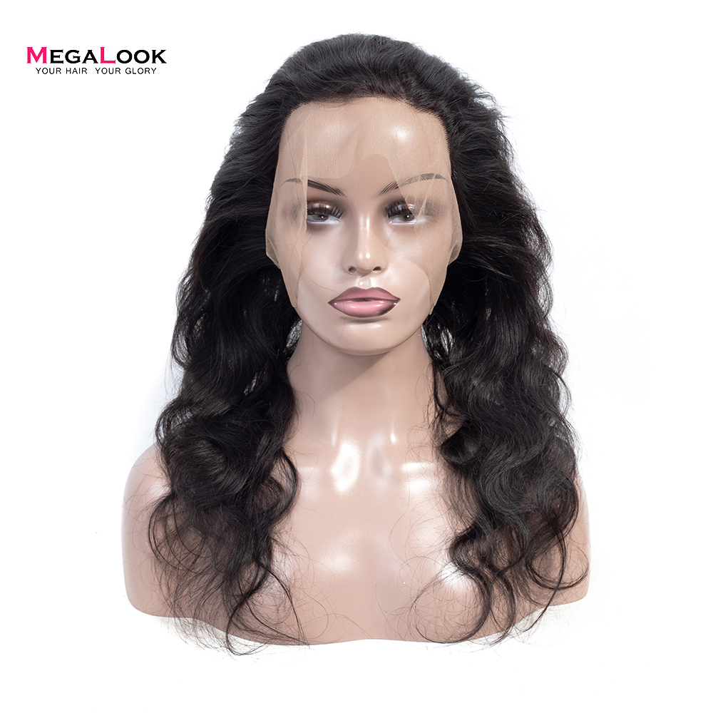 Megalook 360 Frontal Closure with Baby Hair Peruvian Body Wave Pre plucked Remy Human Hair Lace