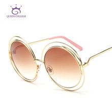 Королева колледж новые марка дизайнер круглый медь ретикулярная очки рамки женщин мода солнцезащитные очки óculos UV400 QC0175