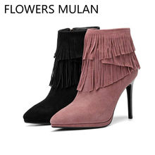 3dbe803dade4 Pink Black Suede Ankle Boots Women Chic Pointed Toe Tassel Fringe Ladies  Booties High Heels Shoes Woman Winter Fashion Botas