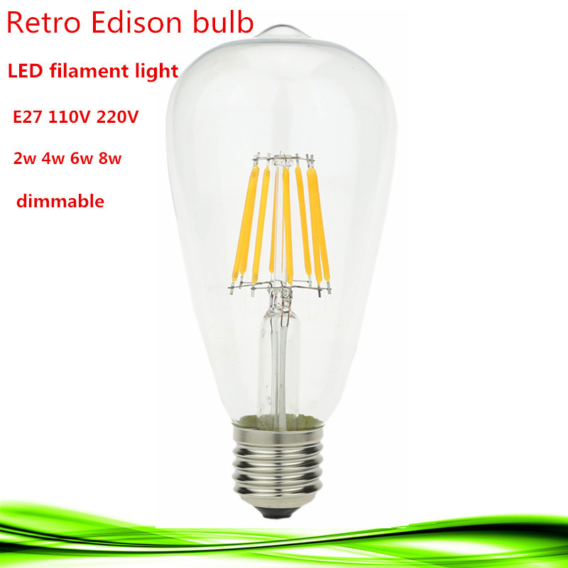 1X  LED Edison Filament bulb E27 E26 Dimmable ST64 2W 4W 6W 8W 110V/220V energy saving lamp replace incandescent bulb Warm white high brightness 1pcs led edison bulb indoor led light clear glass ac220 230v e27 2w 4w 6w 8w led filament bulb white warm white