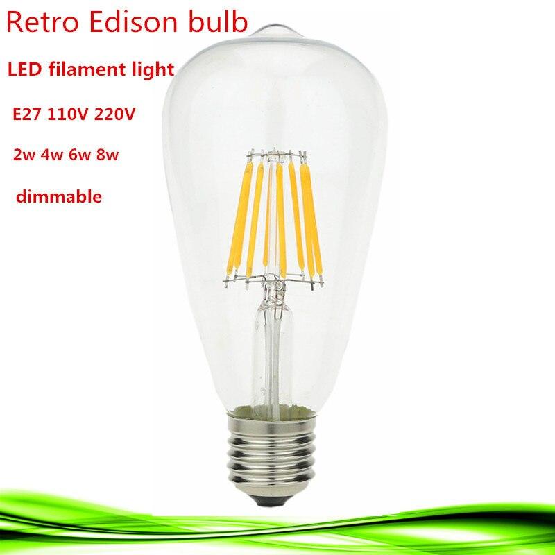 1X <font><b>LED</b></font> Эдисон лампа Накаливания E27 E26 С Регулируемой Яркостью ST64 2 Вт 4 Вт 6 Вт 8 Вт 110 В/220 В энергосберегающие лампы заменить лампы накаливания Теп&#8230;