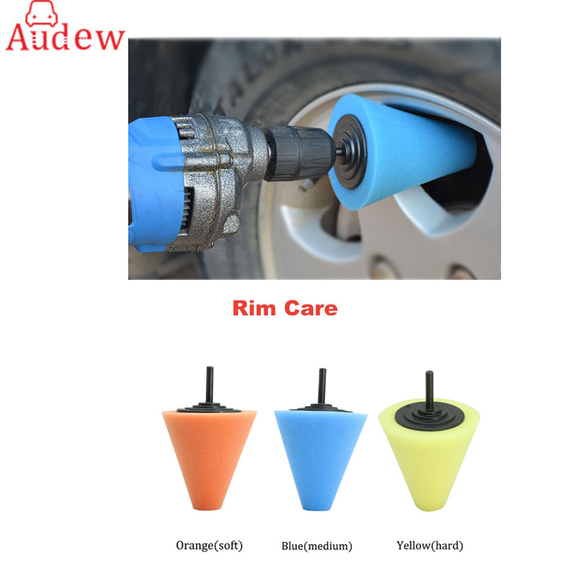 AUDEW Three Colors of Different Hardness Conical Shape Polishing Wheel Buffing Pads For Car Cleanning Rim Care Accessories