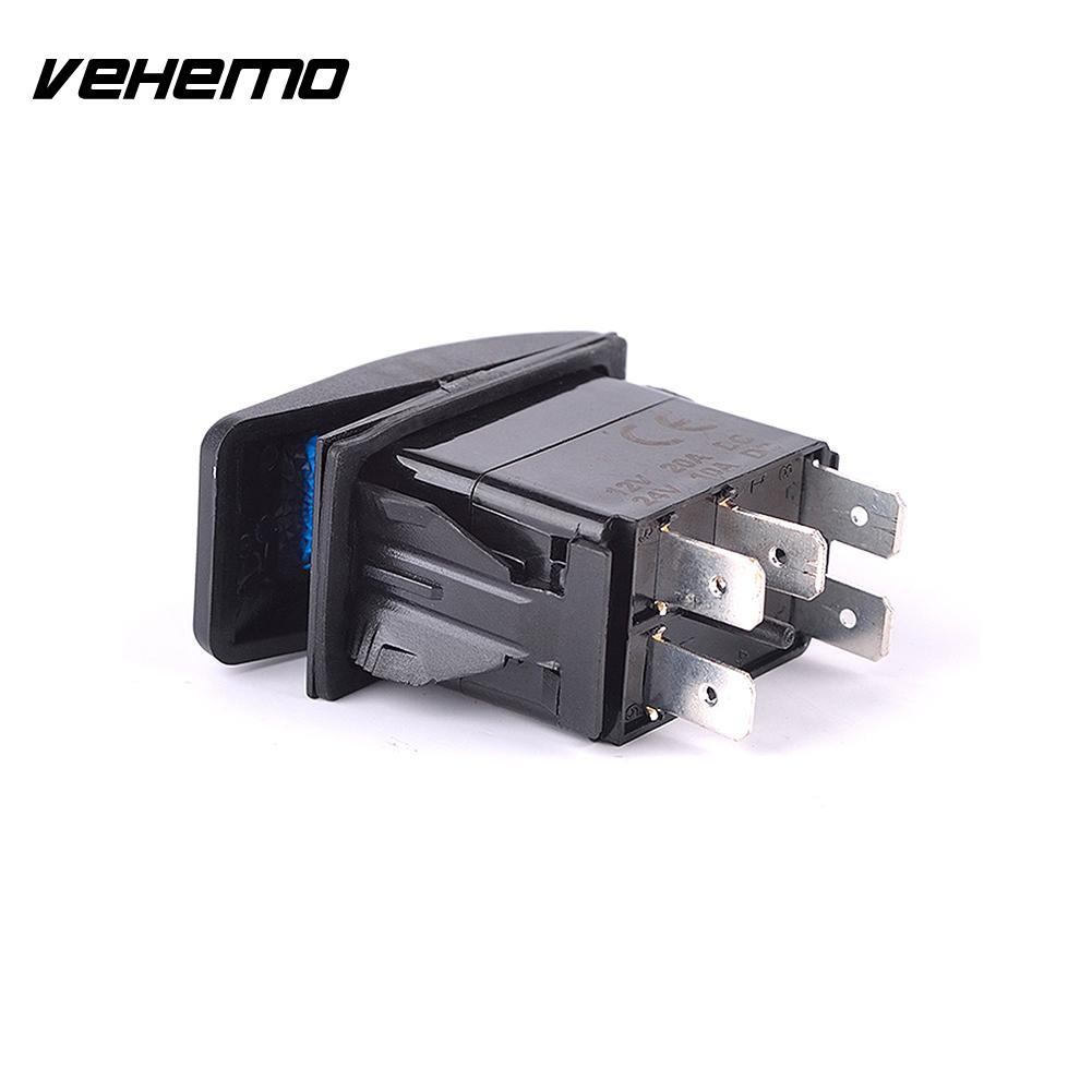 Vehemo Car Auto Laser 5P 12V/20A Rocker Toggle Winch IN-OUT SPST Switch Blue LED