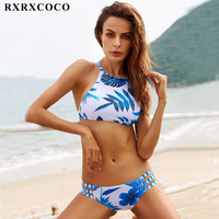 2017 Hot Brand MOOSKINI Bikini Set Summer Style Swimwear Women Leaf Printed Bathing Suits Push Up