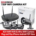 2Ch/4CH 720 P Cámara IP Inalámbrica WIFI NVR Sistema Kit Noche visión 20 M Al Aire Libre Sistema de Vigilancia de Seguridad CCTV 1.0MP Plug & jugar