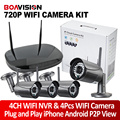 2Ch/4CH 720 P NVR Sistema de Câmera IP Sem Fio WI-FI Kit Noite visão 20 M Outdoor 1.0MP CCTV Sistema de Segurança de Vigilância Plug & jogar