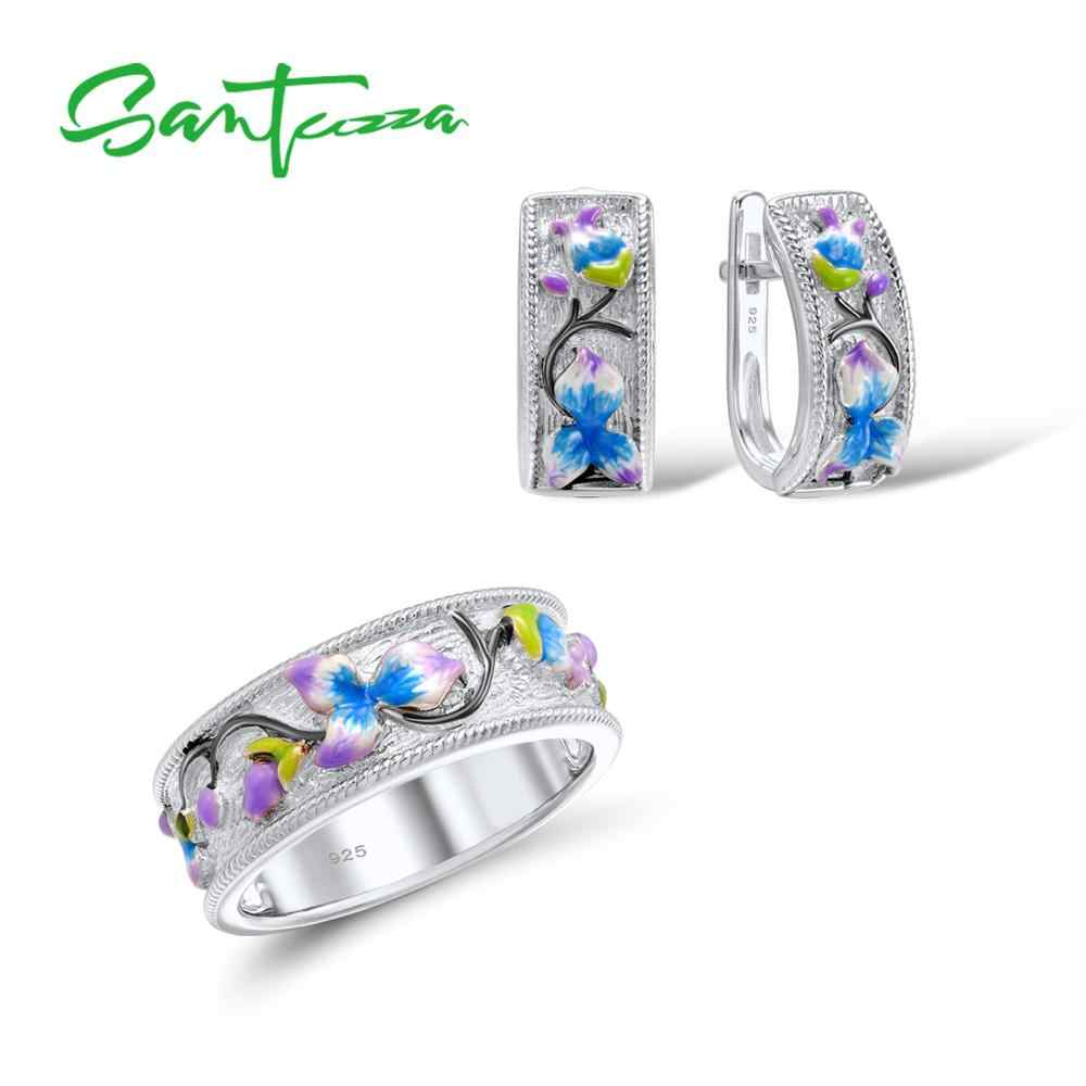 SANTUZZA Silver Jewelry Set HANDMADE Colorful Enamel Flower Ring Earrings 925 Sterling Silver Women Party Fashion Jewelry Set